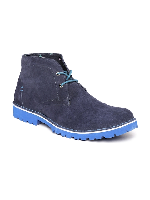 Bata Men Navy Blue Solid Mid-Top Flat Boots