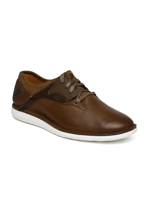 Hush Puppies Men Brown Abrupt Bolt Leather Sneakers