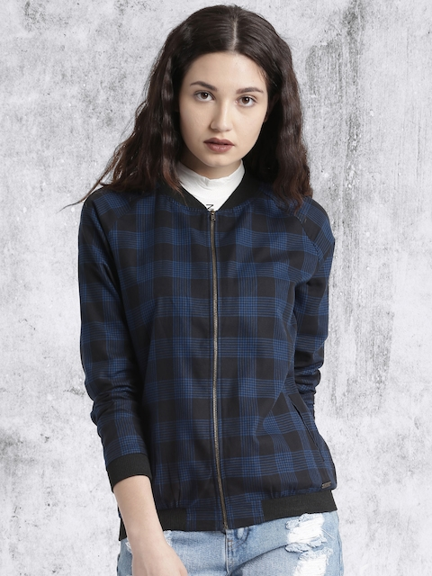 Roadster Women Navy Blue & Black Checked Lightweight Summer Bomber Jacket