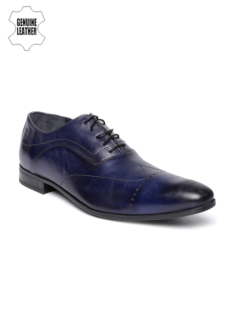 Louis Philippe Men Navy Genuine Leather Oxford Shoes