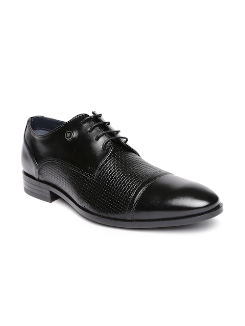 Louis Philippe Men Black Textured Leather Formal Shoes