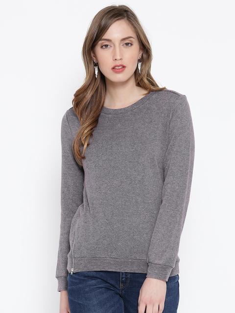 SCOUP Grey Patterned Sweatshirt