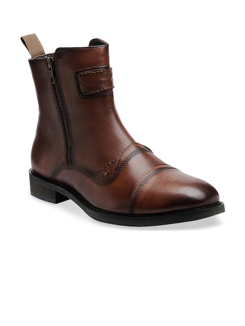 Teakwood Leathers Men Brown Leather Flat Boots