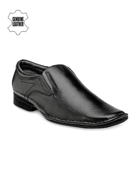 Teakwood Leathers Men Black Leather Semiformal Shoes