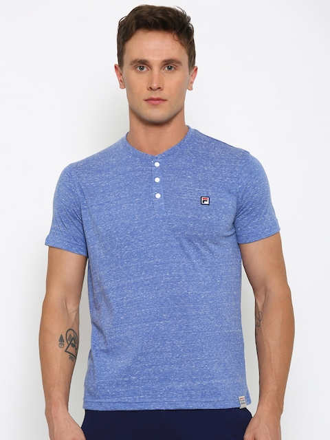 FILA Men Blue Henley Neck Slim T-shirt