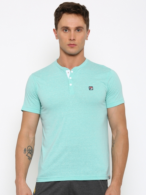 FILA Men Blue Solid Henley T-shirt