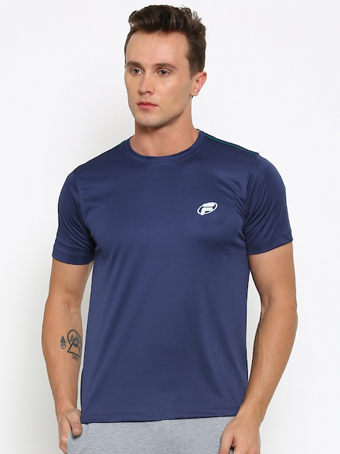 FILA Men Navy Solid Round Neck Slim T-shirt