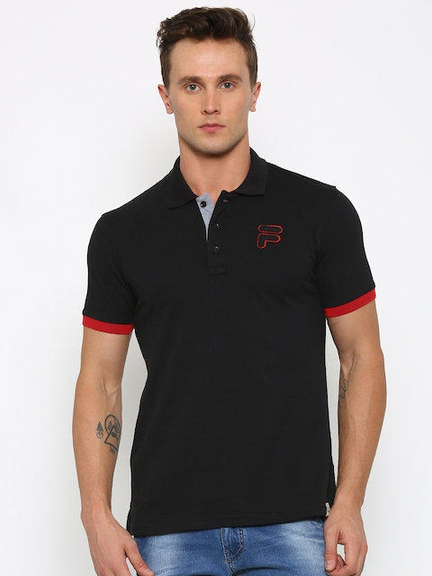FILA Men Black Solid Polo T-shirt