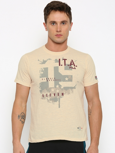 FILA Men Beige Printed Slim Fit Round Neck T-shirt