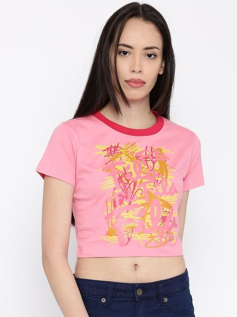 FILA Women Pink Printed Crop T-shirt