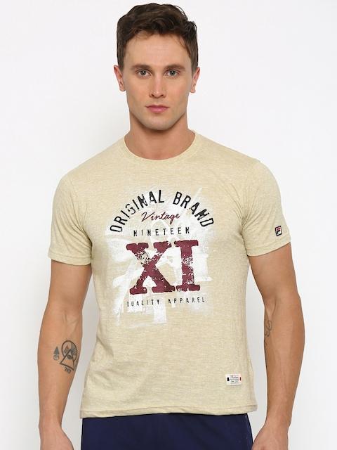 FILA Men Beige Printed Slim Fit Round Neck T-shirt