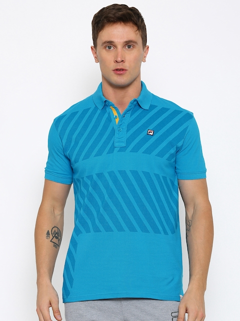 FILA Men Blue Slim Fit Polo Collar T-shirt