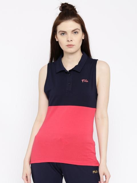 FILA Women Navy & Coral Red Colourblocked Polo Collar T-shirt