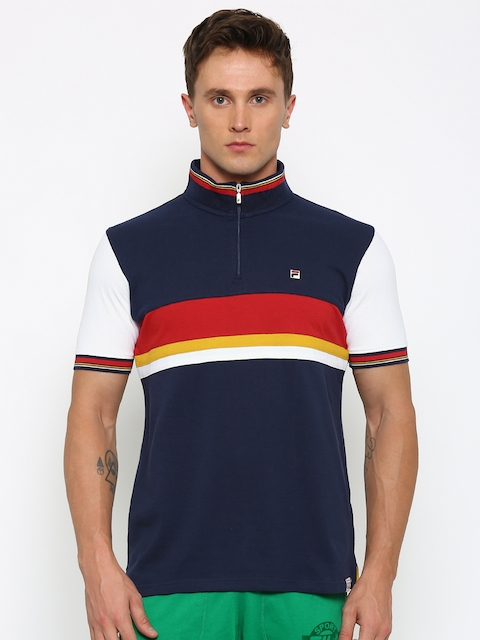 FILA Men Navy Striped Mock T-Shirt