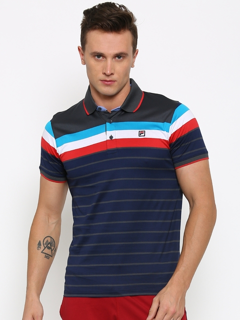 FILA Men Navy Striped Polo Collar T-Shirt