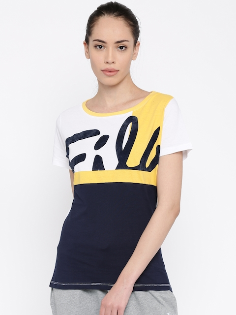FILA Women Navy & White Colourblocked Round Neck T-shirt