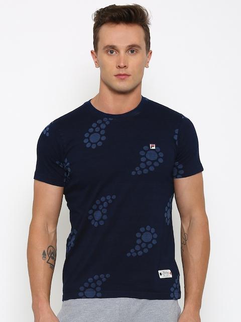 FILA Men Navy Printed Round Neck Slim T-shirt