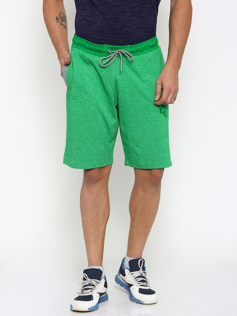 FILA Men Green Solid Sports Shorts