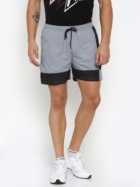 FILA Men Grey & Black Colourblock Sports Shorts