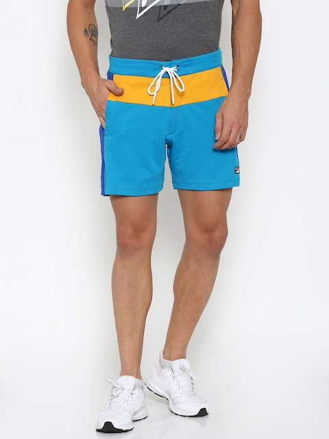 FILA Men Blue & Yellow Colourblock Sports Shorts
