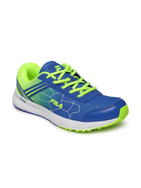 FILA Men Blue & Fluorescent Green Aero Speed Running Shoes