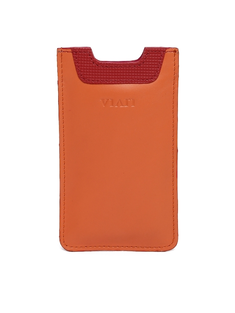 VIARI Women Orange Leather iPhone 6 Mobile Pouch