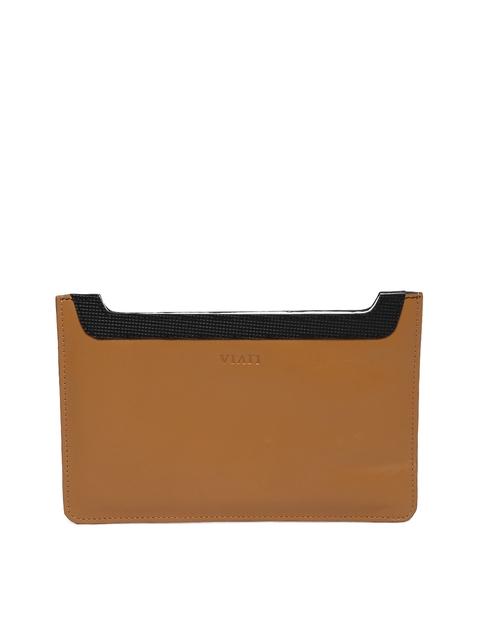 VIARI Women Tan Brown Leather iPad Mini Tablet Sleeve