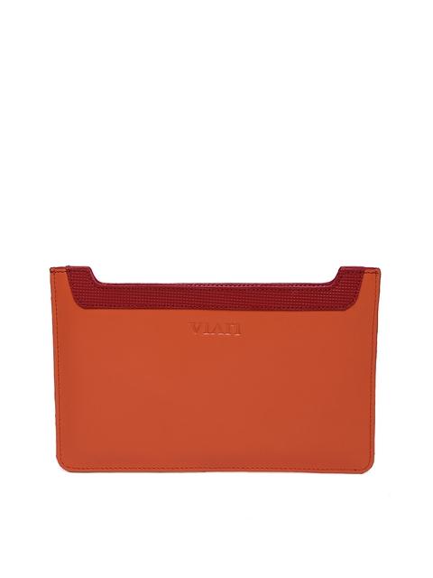 VIARI Women Orange Leather iPad Mini Tablet Sleeve