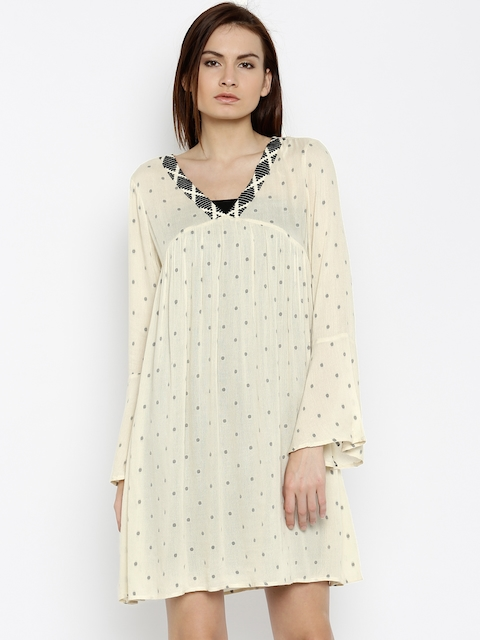 Vero Moda Women Beige A-Line Dress