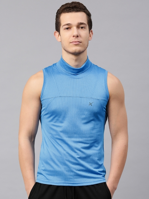 HRX Active by Hrithik Roshan Men Blue Solid Turtle Neck T-shirt