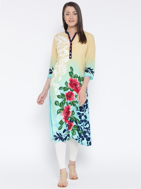 Shree Women Beige Printed Straight Kurta  available at myntra for Rs.399