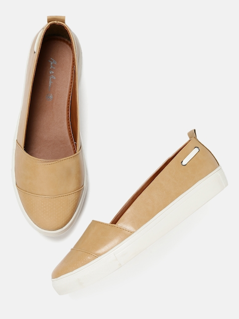 Mast & Harbour Women Beige Slip-On Sneakers