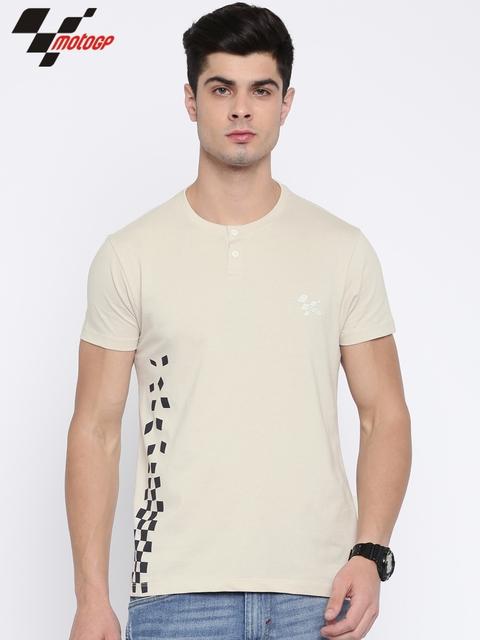 Roadster Men Beige Printed Henley Neck T-shirt