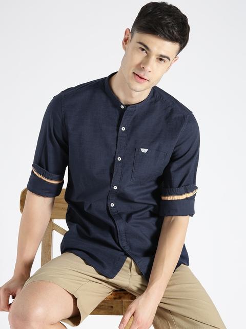 s.Oliver Men Navy Slim Fit Solid Casual Shirt