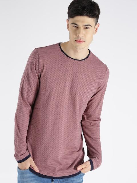 s.Oliver Men Pink Striped Round Neck T-Shirt