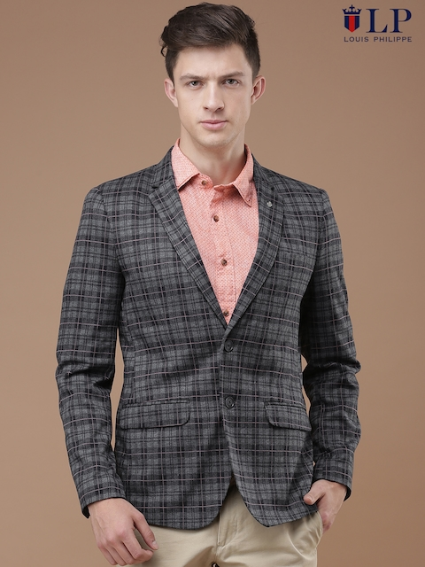 Louis Philippe Sport Charcoal & Navy Checked John Fit Single-Breasted Blazer