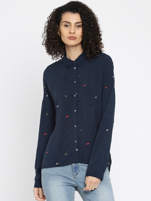 ONLY Women Navy Blue Printed Casual Shirt