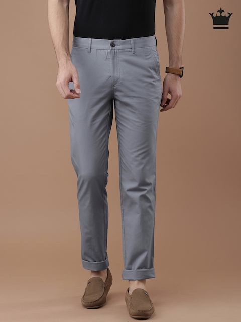 Louis Philippe Men Grey Solid Milano Slim Fit Formal Trousers