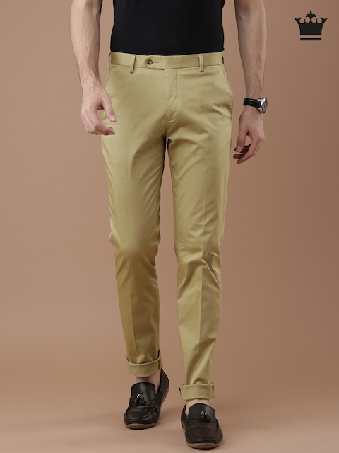 Louis Philippe Men Khaki Solid Milano Fit Chino Trousers