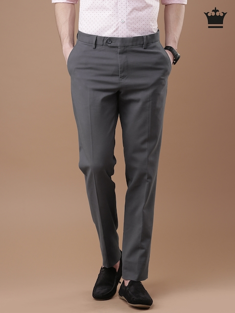 Louis Philippe Men Grey Solid Milano Fit Chino Trousers