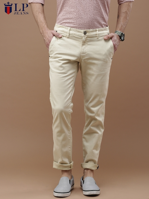 Louis Philippe Jeans Men Beige Steven Fit Solid Chino Trousers