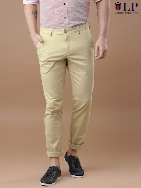 Louis Philippe Sport Men Beige Steven Slim Fit Chino Trousers