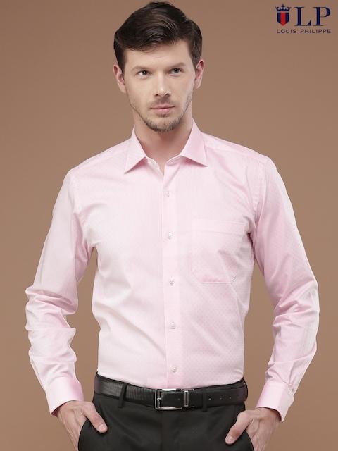 Louis Philippe Men Pink Self Design Regular Fit Formal Shirt