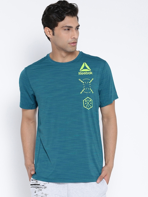 Reebok Men Teal Blue ACTVCHL Graphic Print Round Neck Training T-shirt