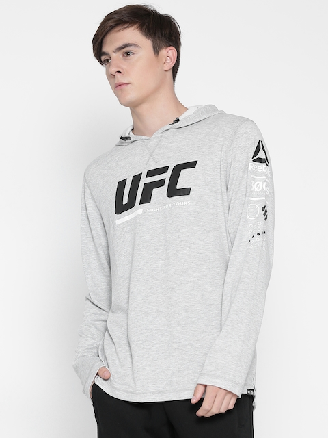 Reebok Grey Melange UFC FG Printed Hooded Sweatshirt