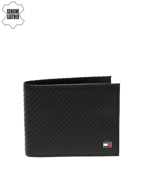 Tommy Hilfiger Men Black Textured Genuine Leather Wallet