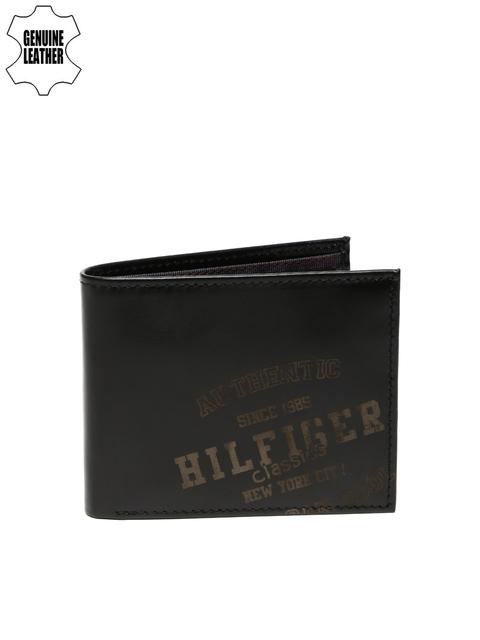 Tommy Hilfiger Men Black Printed Genuine Leather Wallet