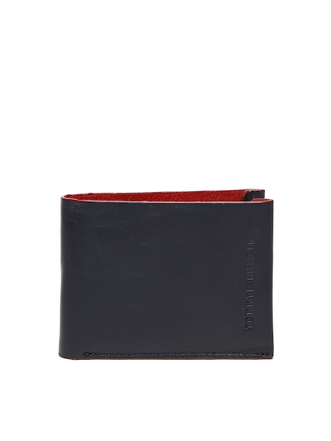 Tommy Hilfiger Men Navy Blue Solid Two Fold Wallet