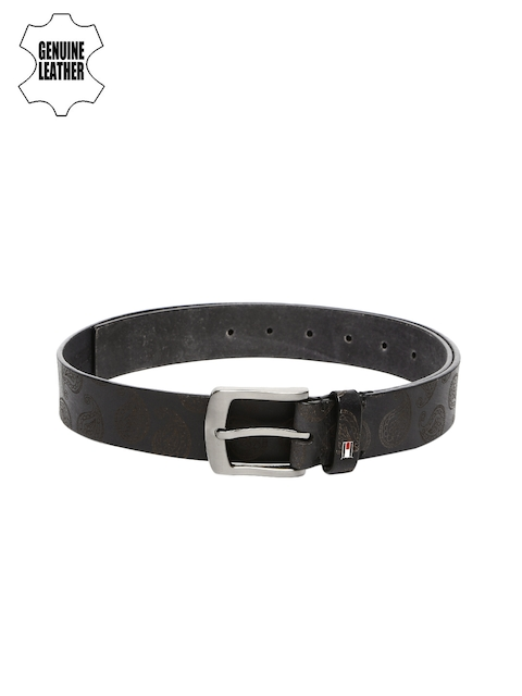 Tommy Hilfiger Men Black Printed Genuine Leather Belt