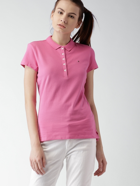 Tommy Hilfiger Women Pink Slim Fit Polo T-Shirt